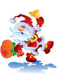 Cheerful Father Christmas bears gifts