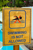 Swimming is not allowed