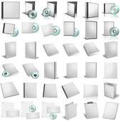3D činí z dvd boxy na bílém poz