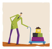 Lanky man in a green suit with a carriage | Vector illustration