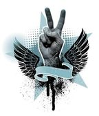 Vector emblem with winged peace hand sign banner and star