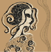 Closeup decorative vintage Halloween woman with beautiful hair