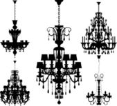Set of five silhouettes of luxury chandeliers