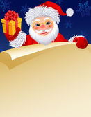 Vector illustration - Santa Klaus with a paper scroll and gift