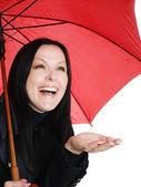 Mosolygós barna nő esernyő