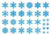 Set of 30 snowflakes some with crisp edges and some with rounded angles EPS8 vector