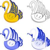 Four decorative swan Isoalted on white EPS 8 AI JPEG