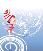 This is a figure skater in a striped hat in the rink