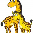 thumbnail of Female and baby giraffes