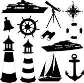 Sailing equipments silhouettes - vector