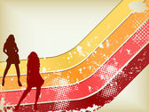 Retro Grunge Background with two girls silhouettes Editable Vector