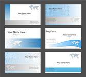 Six corporate business card templates white blue and grey with world map theme