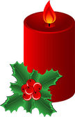 Christmas composition with red candle and Holly Border isolated Vector illustration