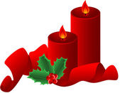 Christmas composition with red candle ribbon and Holly Border isolated Vector illustration