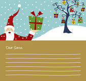 Felice Babbo Natale e albero di Natale con un sacco di regali lettera sfondo
