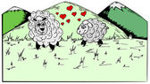 Two sheeps on the field in vector illustration