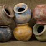 Постер, плакат: Six clay plant pots with grunge finish