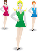 Three lovely gals standing in identical pose in retro outfits