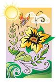 Malá víla létání nad krásnou květi