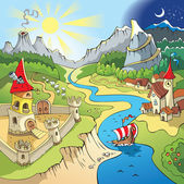 Fairy tale landscape wonder land with castle and town cartoon vector illustration
