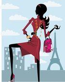 Women Shopping Paris Fashion Silhouette Cartoon Walking Black Female
