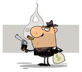 Gangster drží zbraň a pytel
