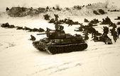 Vörös hadsereg támadást. Fekete-fehér