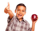 Hispanic Boy with Apple and Thumb Up