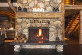 Rustic Fireplace in Log Cabin