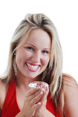 Blonde woman excited about a big diamond