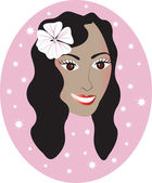 Vector pretty Hawaiian girl with Pink background Great for personalization see many other faces with different looks