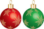 Christmas Ornament Green & Red Set of 2 christmas ornaments with gold snowflakes Vector Illustration photo real 3D