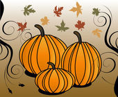 Vector Illustration for Fall Autumn Leaves and Stylized Pumpkins with decorative scroll