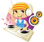 Vector illustration of a funny DJ isolated on white background