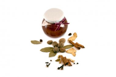 Spices and honey isolated