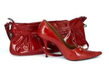 Red stiletto shoe and handbag