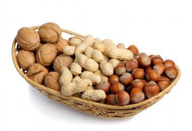 Set of nuts in a wicker basket