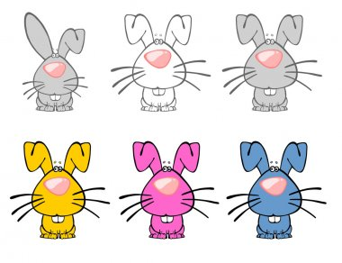 Six Multicolored Easter Rabbits