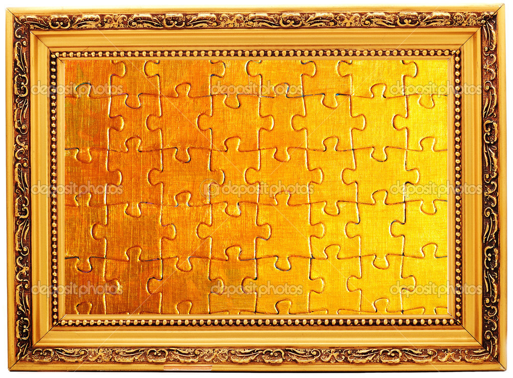 Gold old frames with puzzle — Stock Photo © R-studio #1037427