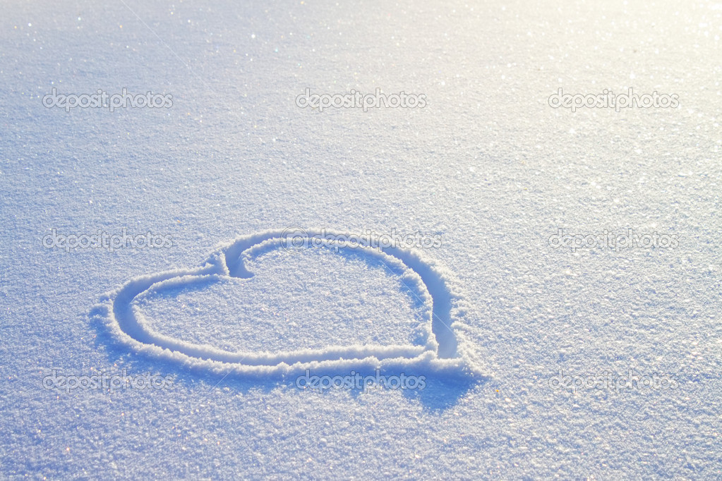 Heart on snow