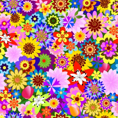 Abstract seamless floral pattern from multi-coloured flowers (vector) clip art vector