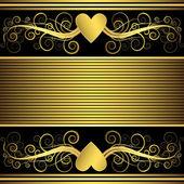 Valentin keret arany szív (vektor)