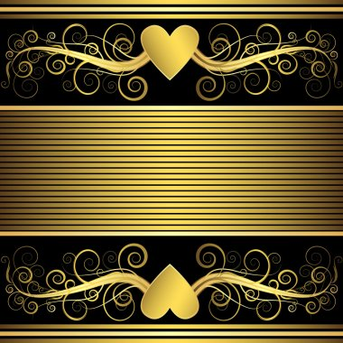 Valentine frame with gold heart (vector)