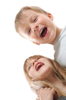 Happy laughing children friends
