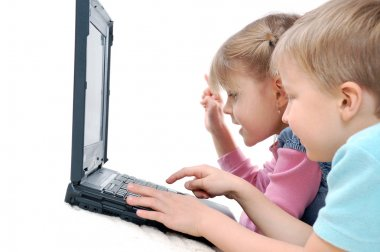 Children playing computer games