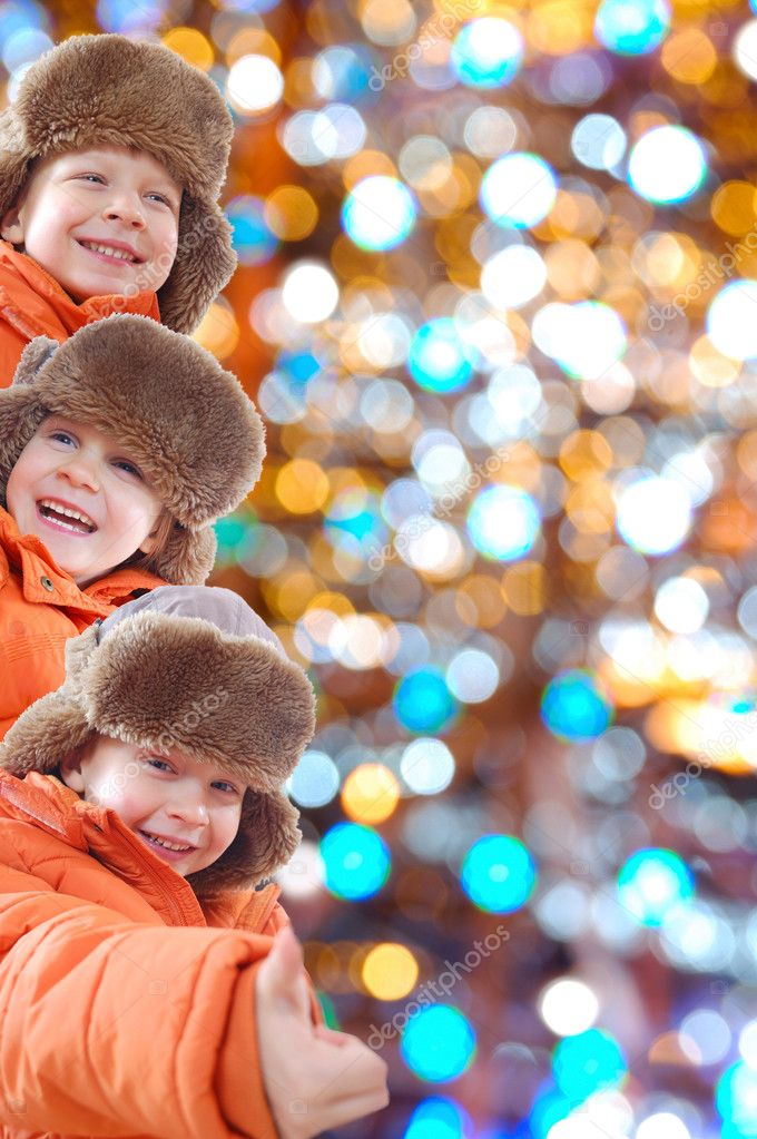 Winter kids with colorful lights