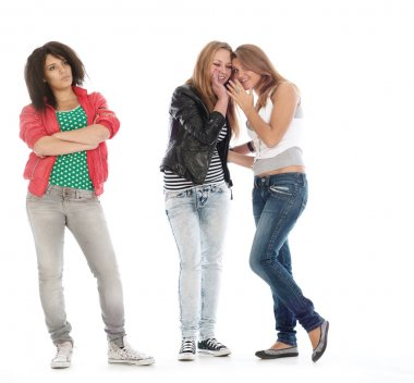 Young teens posing on white. Is not isol