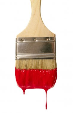 Paint brush with color drop. isolated on