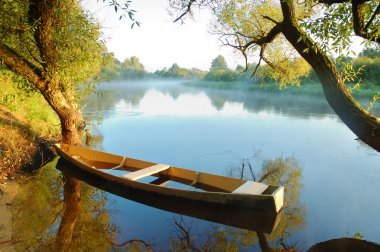Beautiful river and yellow boat