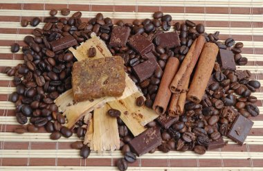 Coffee beans with cinnamon and chocolate